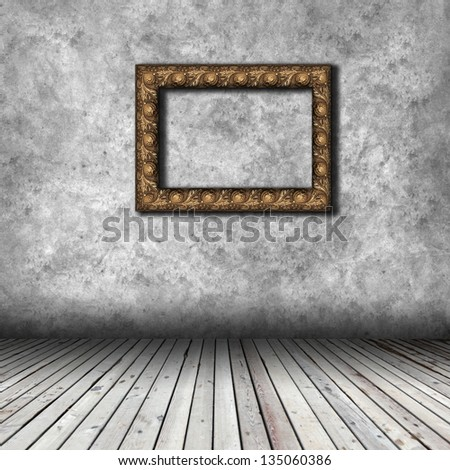 Empty interior with wooden floor and grunge wall - stock photo