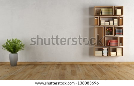 Empty interior with wooden wall bookcase - rendering - stock photo