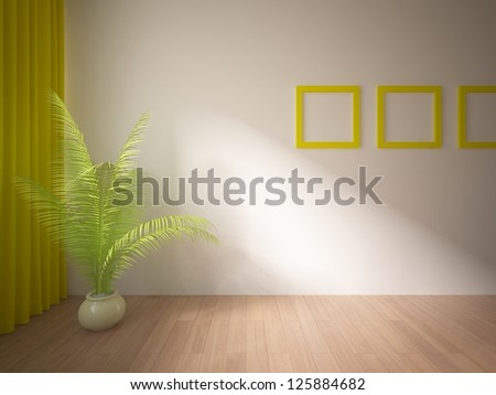 empty interior with yellow curtains and frames - stock photo
