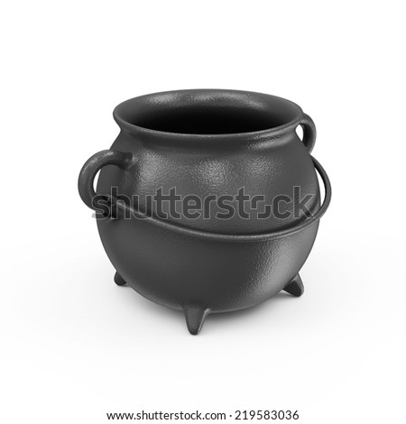 Empty Iron Cauldron isolated on white background - stock photo