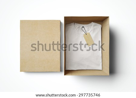Empty isolated box and white tshirt with label - stock photo