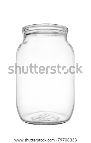 Empty jar of pickle on white background