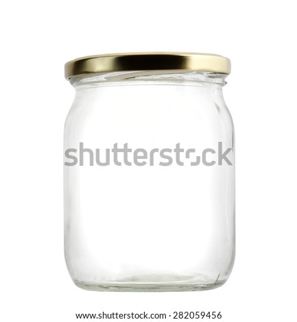empty jar on white background - stock photo