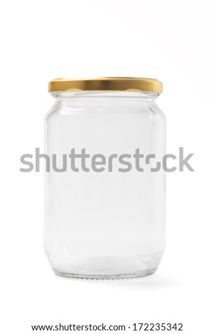Empty jar with a cap isolated on white. - stock photo