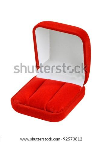 Empty jeweler box on white background - stock photo