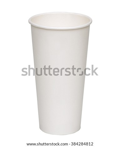 Empty jumbo paper takeaway cup on white background including clipping path - stock photo
