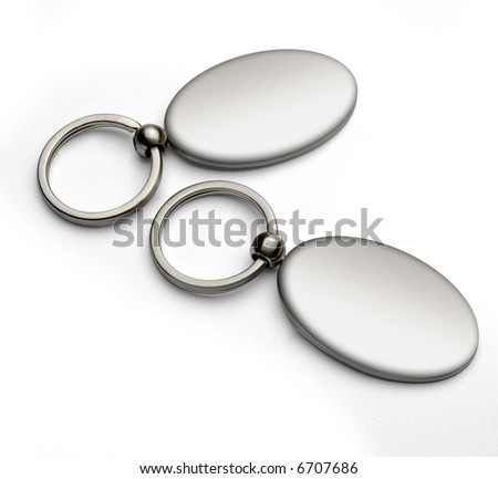 empty key rings isolated over white - stock photo