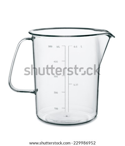 Empty kitchen measuring cup isolated on white - stock photo