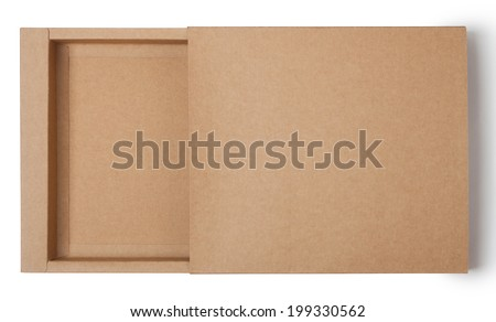 empty kraft paper box - stock photo