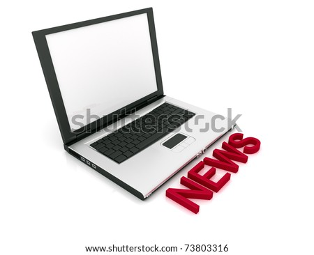 Empty Laptop with a color word NEWS