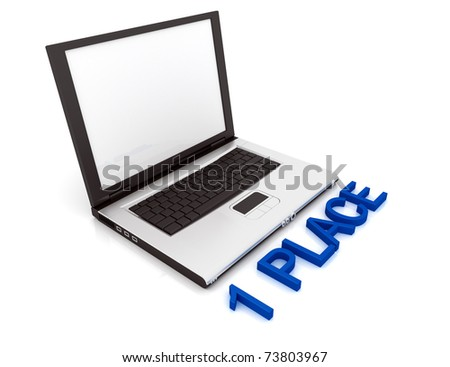 Empty Laptop with a color word 1 Place