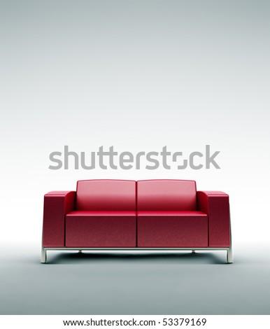 Empty leather sofa - stock photo