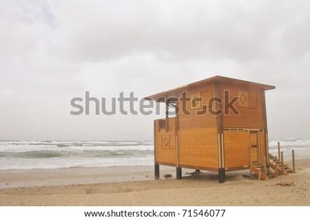 Empty lifeguard station - stock photo