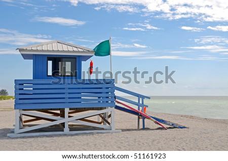 Empty Lifeguard Station on the Beach - stock photo
