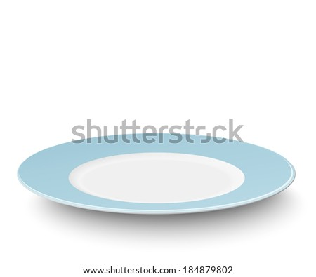 Empty light blue plate isolated on white. Raster version illustration. - stock photo