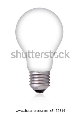 Empty Light Bulb on white background - stock photo