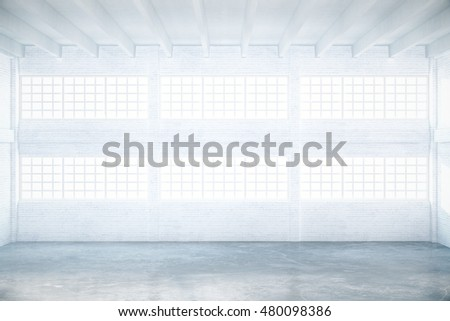Empty light hangar interior with daylight. 3D Rendering