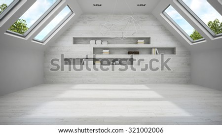 Empty light mansard room with shelf 3D rendering