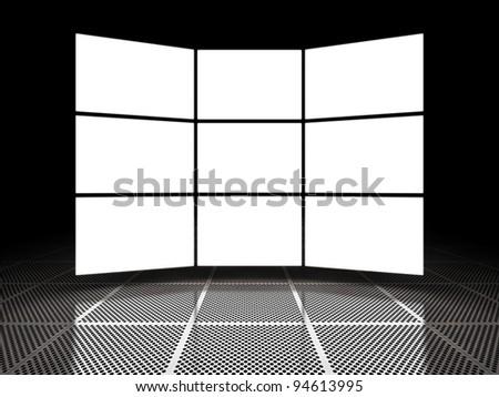 Empty light screen displays around black space - stock photo