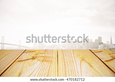 Empty light wooden surface on misty city background. Mock up, 3D Rendering