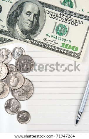 Empty lined paper to white a shopping list, money and pen. - stock photo