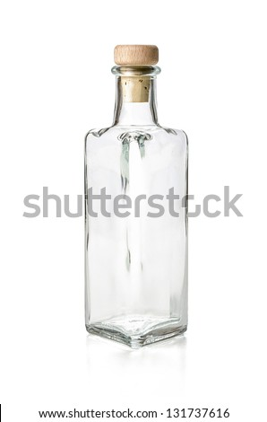 empty liquor bottle on a white background - stock photo