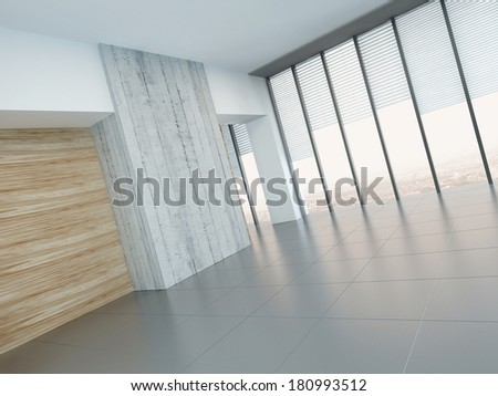 Empty living room interior with wooden and concrete wall - stock photo