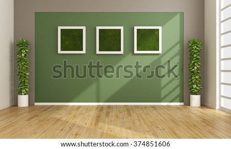 Empty living room with vertical grass in frame on wall - 3D Rendering - stock photo