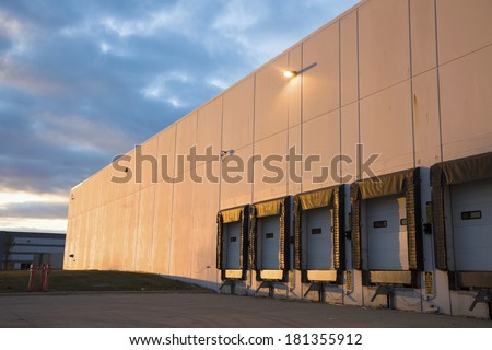 Empty Loading Dock - industrial district.  - stock photo