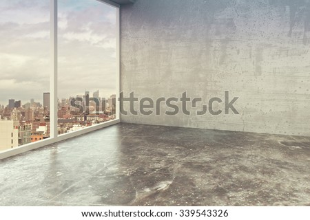 Empty loft interior room with concrete walls, floor and city view 3D Render - stock photo