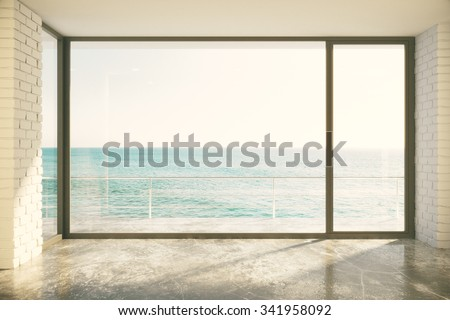 Empty loft room with big window in floor and ocean view 3D Render - stock photo