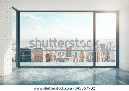 Empty loft style room with concrete floor and city view 3D Render - stock photo