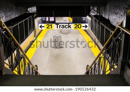 Empty Long Island Railroad subway platform in New York City - stock photo