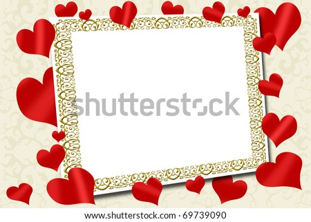 Empty Love Frame Red Hearts Around Stock Illustration 69739090 ...