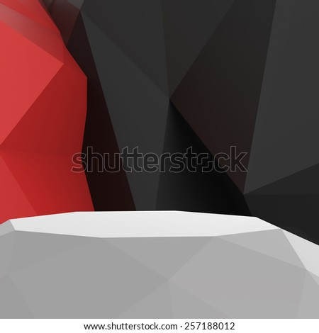 Empty low poly laminate shelf on laminate table and low poly geometric background - stock photo