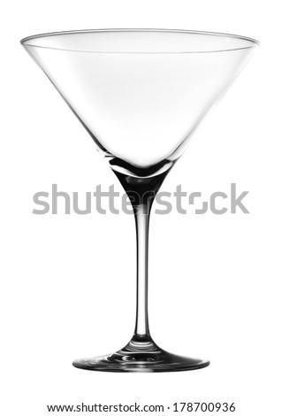 Empty Martini Glass isolated on white - stock photo