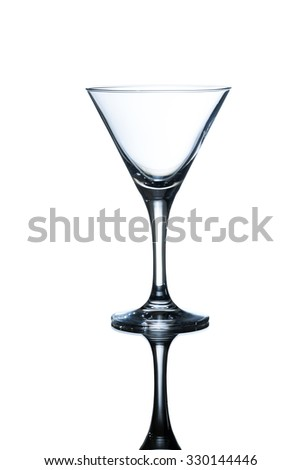 empty martini glass isolated on white background