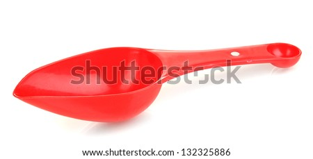 Empty measuring cup for washing powder isolated on white - stock photo