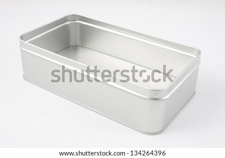 Empty metal box isolated on white