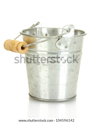 empty metal bucket isolated on white