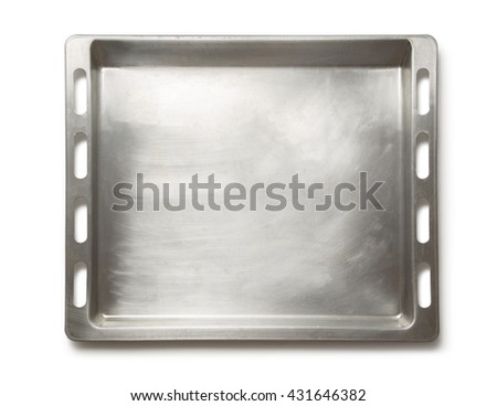 Empty metal oven tray on white background