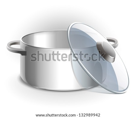 Empty metal pot with lid