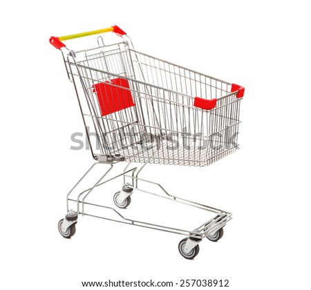 Empty Metal Retail Purchases Shopping Cart from the Supermarket on Four Wheels at the White Background