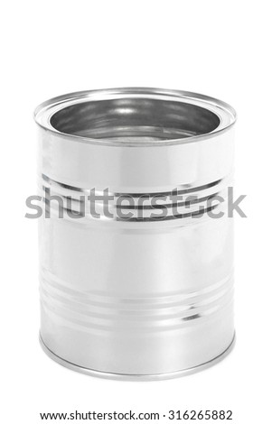 Empty Metal Tin Can without cap, Canned Food, isolated on white background - stock photo