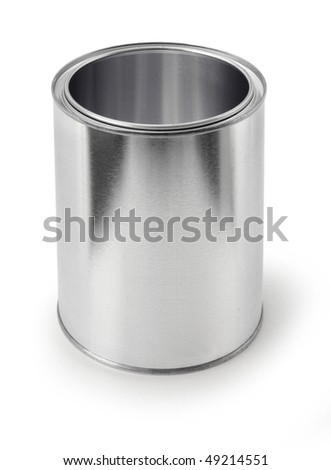 Empty metal tin paint can isolated on white background, apply your own design
