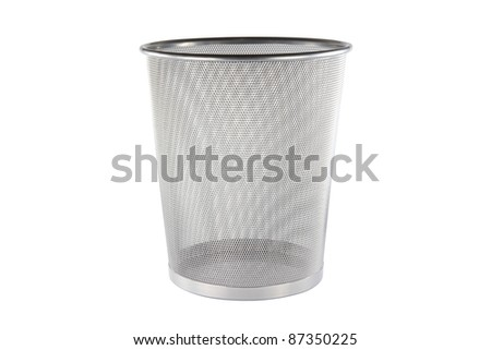 Empty metal trashcan, garbage bin in silver color isolated on white background