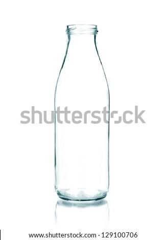 Empty Milk bottle isolated - stock photo