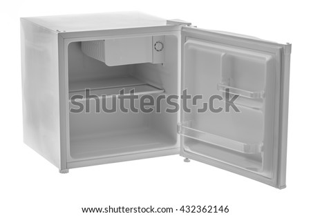 Empty mini fridge isolated on white background