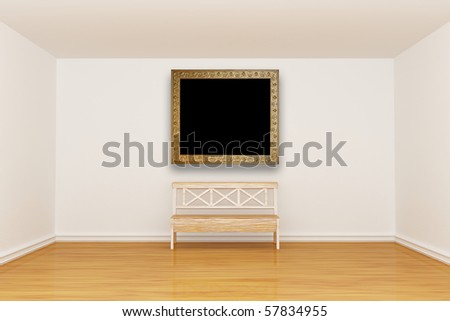 Empty minimalist interior with bench and vintage frame - stock photo