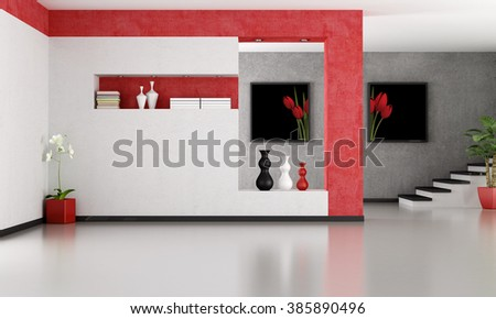 empty minimalist living room  with staircase- rendering- the art pictures on wall are my composition - 3D Rendering